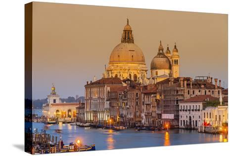 Santa Maria Della Salute Church and Grand Canal at Sunset, Venice, Veneto, Italy-Stefano Politi Markovina-Stretched Canvas Print