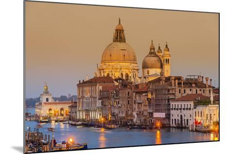 Santa Maria Della Salute Church and Grand Canal at Sunset, Venice, Veneto, Italy-Stefano Politi Markovina-Mounted Photographic Print