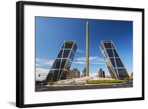 Plaza De Castilla with Puerta De Europa Twin Towers, Madrid, Comunidad De Madrid, Spain-Stefano Politi Markovina-Framed Art Print