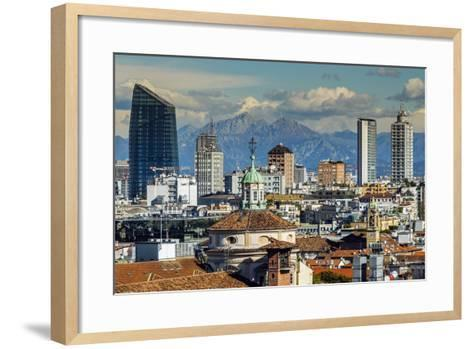 City Skyline with the Alps in the Background, Milan, Lombardy, Italy-Stefano Politi Markovina-Framed Art Print