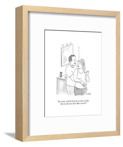 """So, wait, will he be born in time to take him to the new Star Wars movie? - Cartoon-Emily Flake-Framed Art Print"