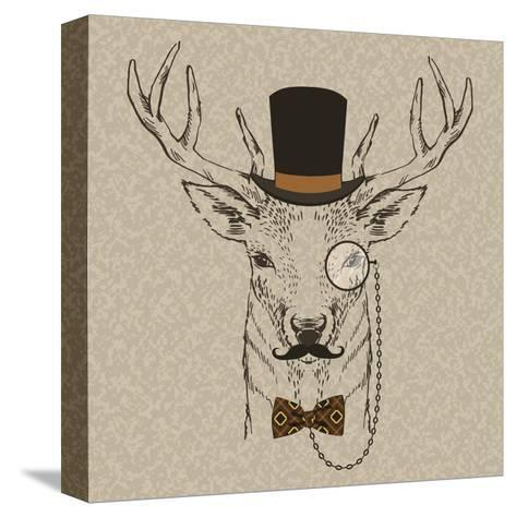 Deer with Hat--Stretched Canvas Print