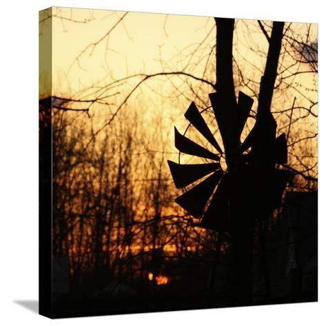 Windmill Silhouette Against Bare Branches and Sunset Sky-Anna Miller-Stretched Canvas Print