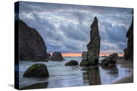 Moody Seascape at Bandon Beach, Oregon Coast--Stretched Canvas Print