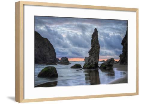 Moody Seascape at Bandon Beach, Oregon Coast--Framed Art Print