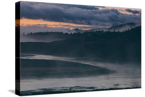 Misty Foggy Morning at Yellowstone River Bend--Stretched Canvas Print