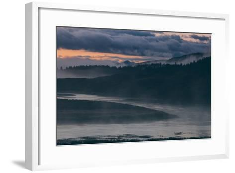 Misty Foggy Morning at Yellowstone River Bend--Framed Art Print