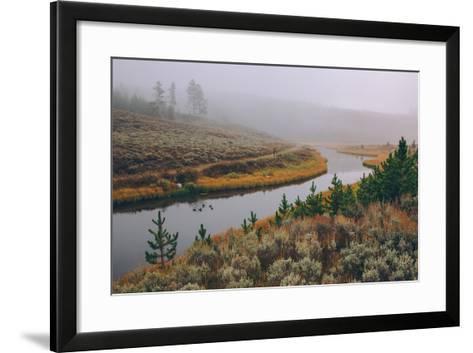 Misty Stream Through Yellowstone, Wyoming--Framed Art Print
