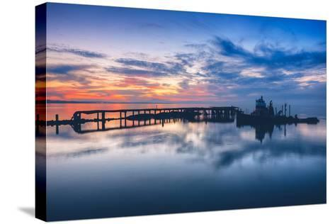 Old Tugboat and Pier at Sunset, San Pablo Bay--Stretched Canvas Print