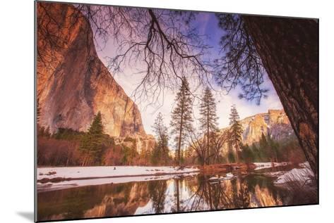 Winter Riverside Scene, Yosemite Valley--Mounted Photographic Print
