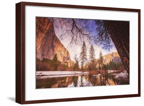 Winter Riverside Scene, Yosemite Valley--Framed Art Print