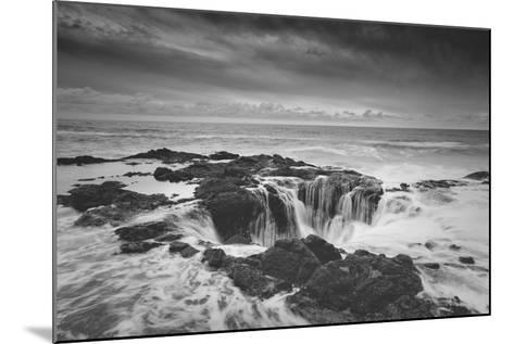 Scene at Thor's Well in Black and White, Oregon Coast--Mounted Photographic Print