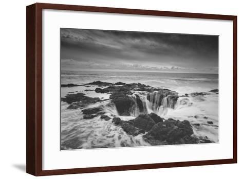 Scene at Thor's Well in Black and White, Oregon Coast--Framed Art Print