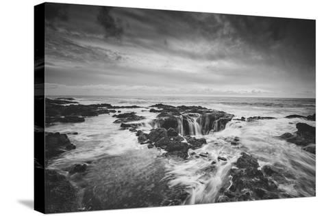 Seascape at Thor's Well in Black and White, Oregon Coast--Stretched Canvas Print