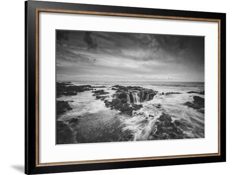 Seascape at Thor's Well in Black and White, Oregon Coast--Framed Art Print