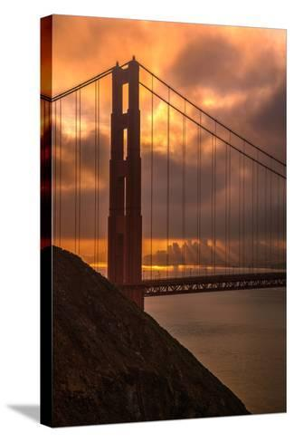 Stormy Morning Sunrise at Golden Gate Bridge--Stretched Canvas Print