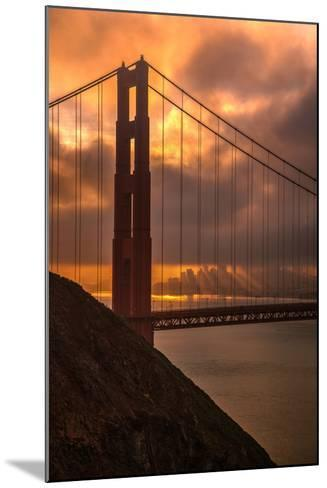 Stormy Morning Sunrise at Golden Gate Bridge--Mounted Photographic Print