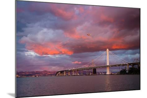 Fiery Clouds and Jet Plane at Bay Bridge, Oakland--Mounted Photographic Print