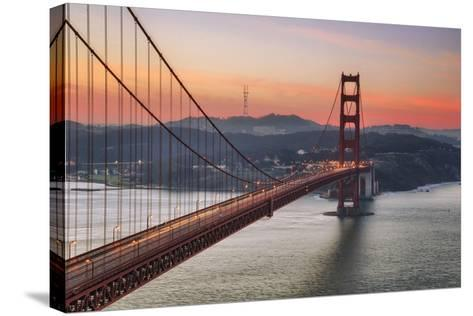 Morning Sky and South Tower, Golden Gate Bridge--Stretched Canvas Print