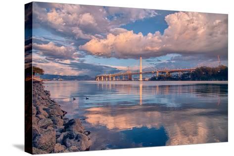Bay Bridge Cloudscape Wide, Oakland, California--Stretched Canvas Print