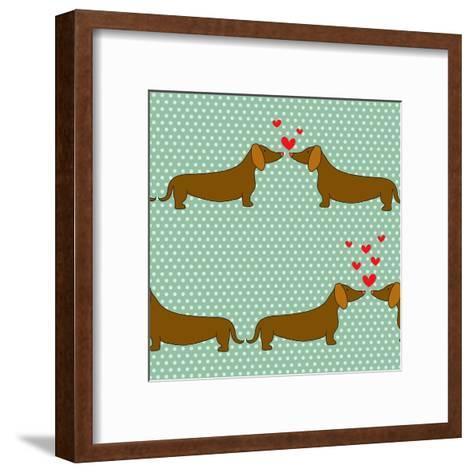 Cartoon Dogs Pattern.-TashaNatasha-Framed Art Print