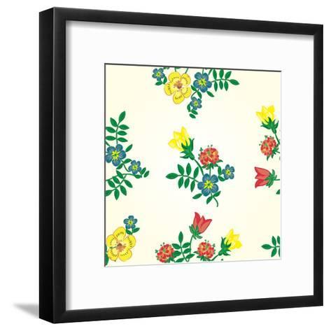Seamless Texture with Flowers. Endless Floral Pattern-Oksana Pravdina-Framed Art Print