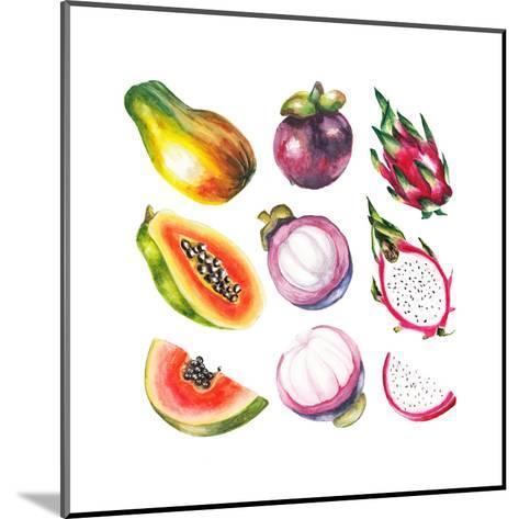 Watercolor Exotic Fruits Set-lenavetka87-Mounted Art Print