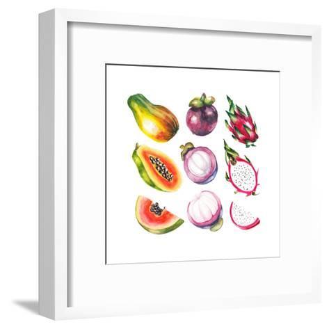 Watercolor Exotic Fruits Set-lenavetka87-Framed Art Print