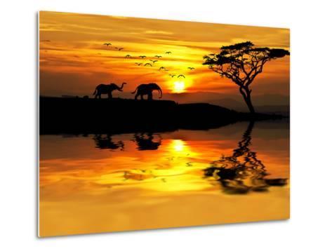 Africa Parading along the Lake-kesipun-Metal Print