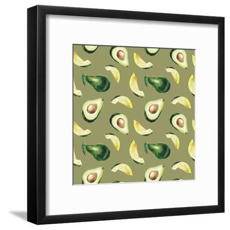 Watercolor Avocado Pattern-lenavetka87-Framed Art Print