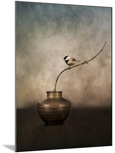 Black Capped Chickadee on a Vase-Jai Johnson-Mounted Giclee Print