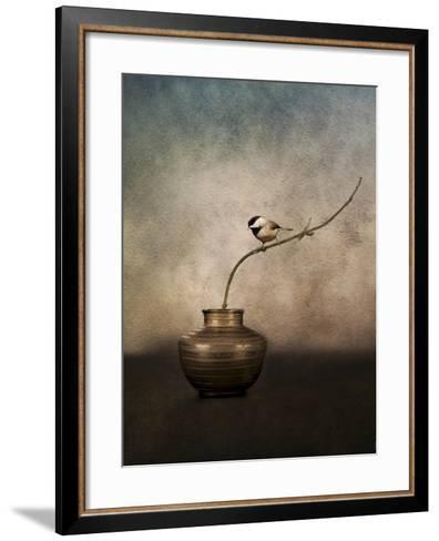 Black Capped Chickadee on a Vase-Jai Johnson-Framed Art Print