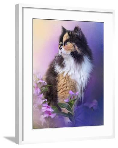 Calico Kitty in the Garden-Jai Johnson-Framed Art Print