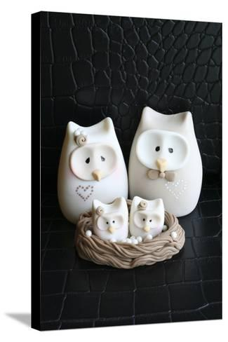 Owl Family Taupe--Stretched Canvas Print