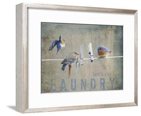 Laundry Day Bluebirds-Jai Johnson-Framed Art Print