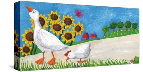 Goose with Hen on Village Way-andreapetrlik-Stretched Canvas Print