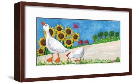 Goose with Hen on Village Way-andreapetrlik-Framed Art Print