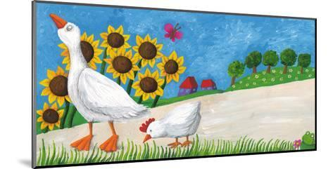 Goose with Hen on Village Way-andreapetrlik-Mounted Art Print