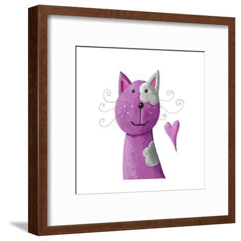 Cute Purple Cat-andreapetrlik-Framed Art Print