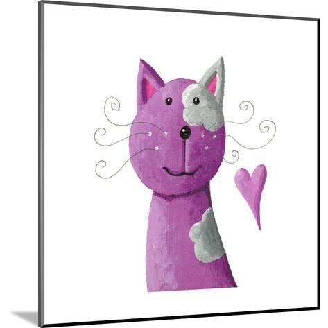 Cute Purple Cat-andreapetrlik-Mounted Art Print