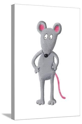 Funny Grey Mouse-andreapetrlik-Stretched Canvas Print