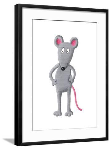 Funny Grey Mouse-andreapetrlik-Framed Art Print