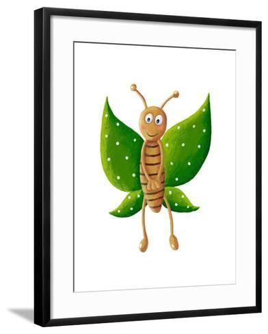 Cute Green Butterfly-andreapetrlik-Framed Art Print