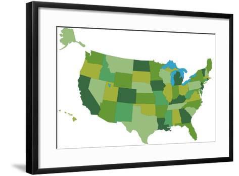 Usa (Coloured)- kamigami-Framed Art Print