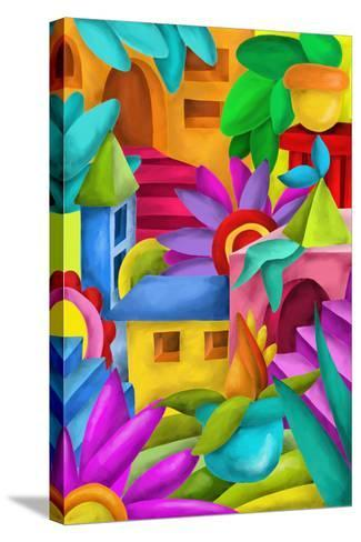 Background with Colorful Fantasy Constructions-goccedicolore-Stretched Canvas Print