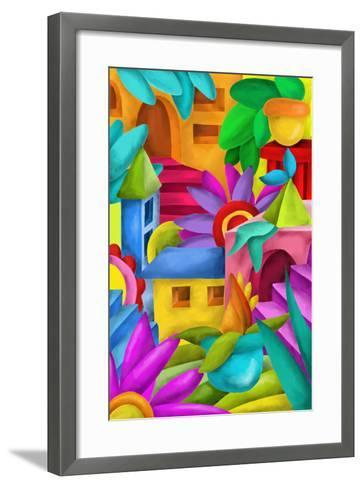 Background with Colorful Fantasy Constructions-goccedicolore-Framed Art Print