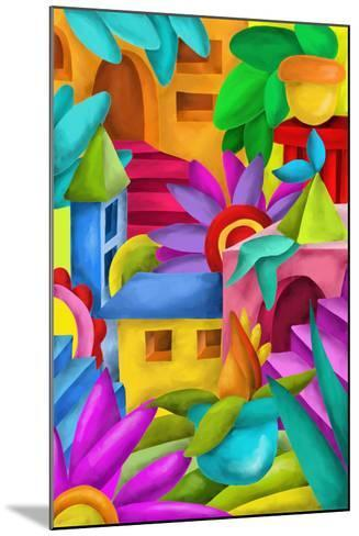 Background with Colorful Fantasy Constructions-goccedicolore-Mounted Art Print