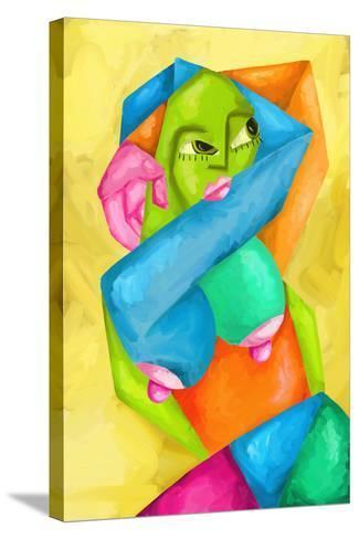 Astratto Con Donna Colorata-goccedicolore-Stretched Canvas Print