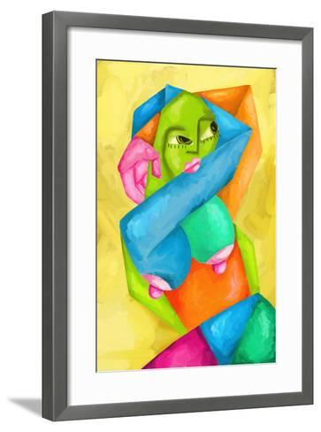 Astratto Con Donna Colorata-goccedicolore-Framed Art Print
