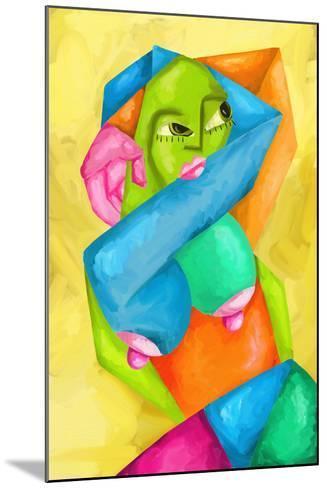 Astratto Con Donna Colorata-goccedicolore-Mounted Art Print